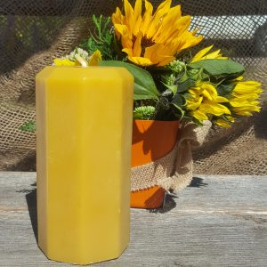 Octagon Pillar Organic Beeswax Candle