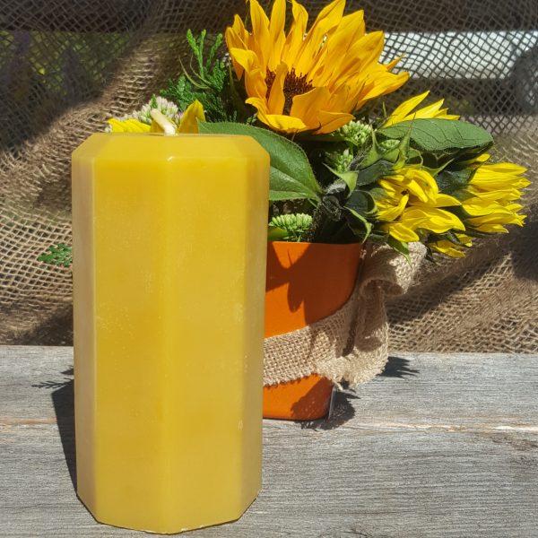 Octagon Pillar Organic Beeswax Candle